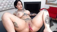 Asian chubby bitch squirting on sofa after using three toys