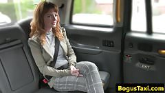 Ginger british babe tonguing cabbies arse