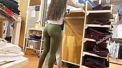 Candid ass sexy green leggings thong showing Latina