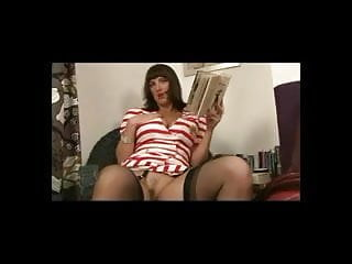 Busty in movie shemale stocking - Busty in lingerie and nylons tease