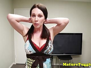 Busty mature stroking cock - Bigboobs mature stroking cock between tits