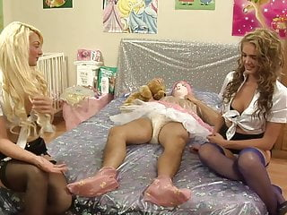 Adult male baby Two sluts babysit a sissy adult baby