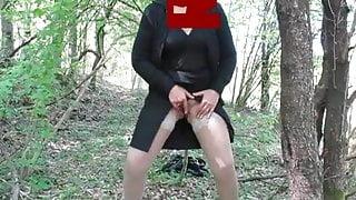 61 yo granny plays in the wood