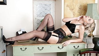 Office babe strips off retro lingerie wanks off in nylons
