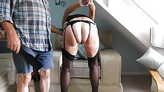 granny hooded tied and paddled hard in stockings