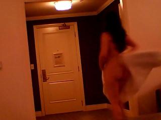 Man room peeing - Towel drop for room service man