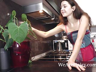 Strip kitchen cabinets easy - Lisa carry strips naked and plays in her kitchen
