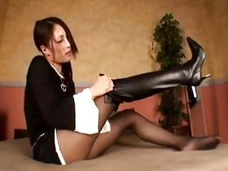 Cock kiched knee high boots Knee high long boots beautiful girl