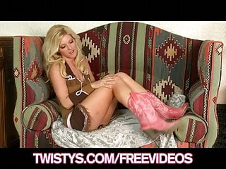 Models playing with sex toys Twistys - gorgeous blonde model plays with her new glass toy