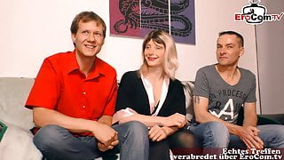 German housewife and girlfriend in their first threesome casting
