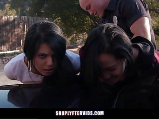 Threesome free video blowjobs Teen girls caught by officer fuck to go free