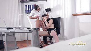 The boss fucks his employees in the office