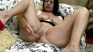 Naughty old spunker with big knockers & a soaking wet pussy