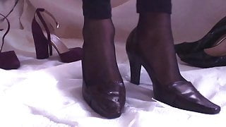 Cumming in Heels Then Wearing Them with Stockings & Leggings