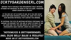 Hotkinkyjo & Dirtygardengirl anal dildo belly bulge prolapse