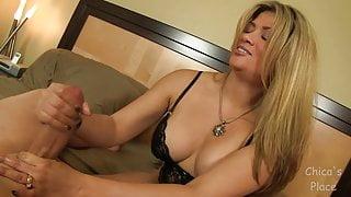 Pump Handjob with hot girl