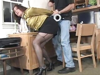 Adult bondage action figures - Full figured secretary taped up and robbed