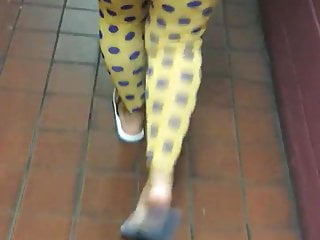 Spanish football strip yellow blue Yellow polka dot legging see through blue panties
