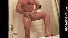 Chubby Hairy Gay Musclebear Showering