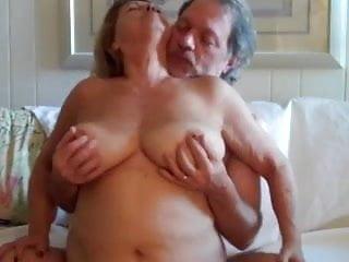 Old woman rides cock Mature woman rides husbands cock
