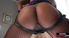 Black femdom pegging sub before cockriding him