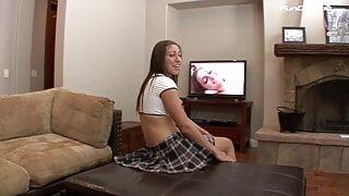 Petite teen slut fucked by stepdad gets cum over her Pussy