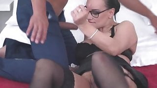 orgasm, squirting mom fucked by lucky stepson, creampie and blowjob