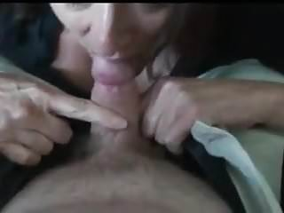 Handcuffed mature wife sucking cock - Mature wife sucking small cock and swallows