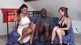 Ebony and Ivory Duo Take Turns Fucking a Lucky Studs Cock