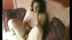 Horny Chubby Teen masturbating Hairy Wet Pussy on her couch