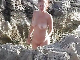 Nude redhead on the beach - Nude beach - big boobs redhead