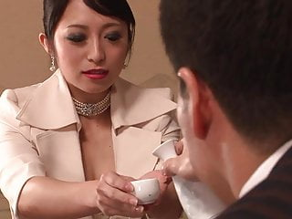 Japanese sex fucking Classy beauty gets had threesome fuck after dinner