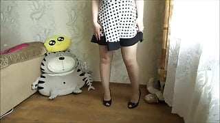My ass under a white dress in pantyhose.