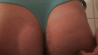 The boy shows his ass in a nice girl tanga of his sister