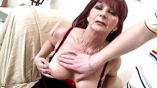 Old grandma slut suck and fuck big young cock