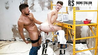 Hot Hunks Put Drywall Stilts To The Test, Bang & Suck