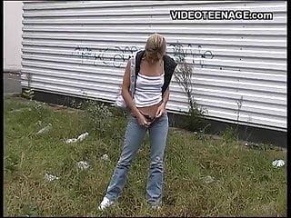 Teen outdoor exibishonists Blonde teen outdoor blowjob