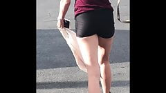 Lil ms afiszowanie spandex track szorty booty - szczery tyłek