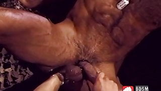Kinky gay sucks a big cock while fist fucking his gaping ass