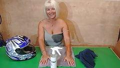 Hot Youtuber Biker Stuff - No bra polishing her helmet