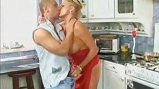 blonde slutty milf fucked in the kitchen