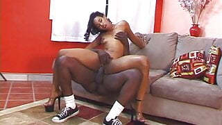 Black dude get his nuts off on pretty face of ebony floozie