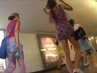 Very short upskirt in cars Upskirt - very short dress