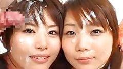 2 Asian girls bukkake
