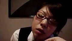 Japanese glasses girl blowjob and fuck