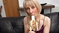 Hazel pleasures herself with a banana