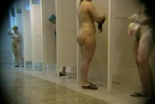 Middle aged mothers naked in shower room