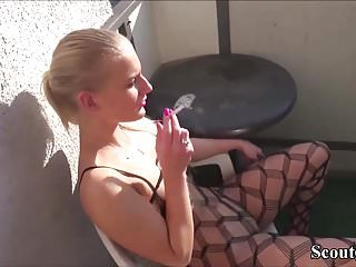 Balcony fucking - Two boys fuck extrem hot cute german teen on balcony