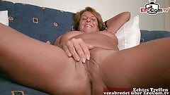 Horny old mature German housewife at sex casting
