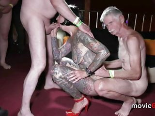 Sexy women does full body strip Gangbang with full body tattooed milf cleo - part 2